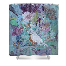 Shower Curtain featuring the painting Risky Robin by Robin Maria Pedrero