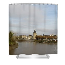River Arrival To Libourne Shower Curtain