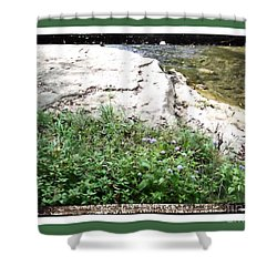 River Bed Rock Black Border Shower Curtain