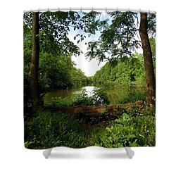 River Bend Seating Shower Curtain by Kimberly Mackowski