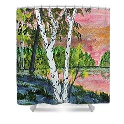 Shower Curtain featuring the painting River Birch by Jack G  Brauer