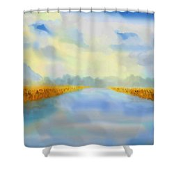 Shower Curtain featuring the painting River Blue by Valerie Anne Kelly