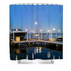 River Boat Dock Shower Curtain by Michael Rucker