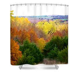 River Bottom In Autumn Shower Curtain