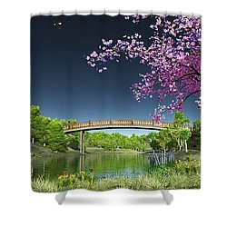 River Bridge Cherry Tree Blosson Shower Curtain by Walter Colvin