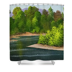 Shower Curtain featuring the painting River Confluence by Frank Wilson