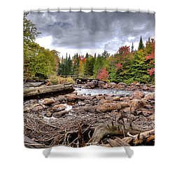 Shower Curtain featuring the photograph River Debris At Indian Rapids by David Patterson