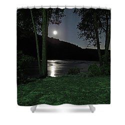 River In Moonlight Shower Curtain