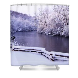 River In Winter Shower Curtain
