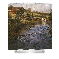 River Landscape With A Washerwoman  Shower Curtain by Fritz Thaulow