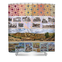 Shower Curtain featuring the painting River Mural Autumn Panel Top Half by Dawn Senior-Trask