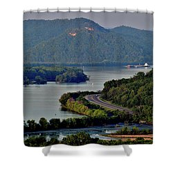 River Navigation Shower Curtain