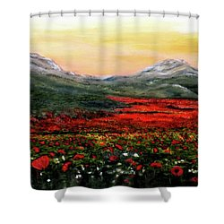 River Of Poppies Shower Curtain by Judy Kirouac