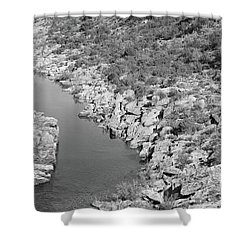 River On The Rocks. Bw Version Shower Curtain