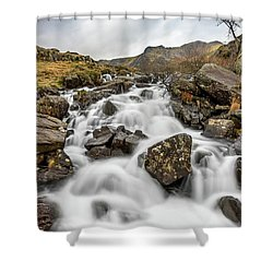 River Rapids Snowdonia Shower Curtain by Adrian Evans