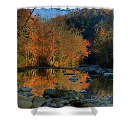 Shower Curtain featuring the photograph River Reflection Buffalo National River At Ponca by Michael Dougherty