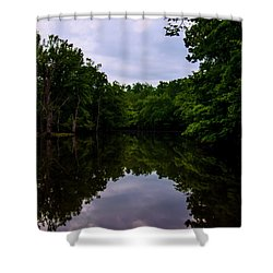 Shower Curtain featuring the digital art River Reflections by Chris Flees