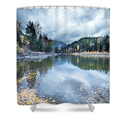 Shower Curtain featuring the photograph River Reflections by Fran Riley