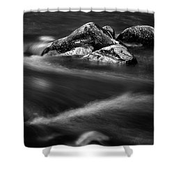 River Rock In Black And White Shower Curtain
