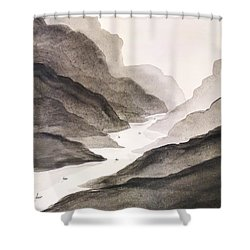 River Running Through Mountains Shower Curtain