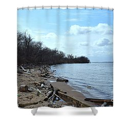 Delaware River Shoreline Shower Curtain