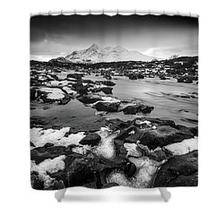 River Sligachan And Black Cuillin, Isle Of Skye Shower Curtain