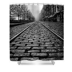 River Street Railway - Black And White Shower Curtain