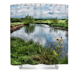 River Tame, Rspb Middleton, North Shower Curtain by John Edwards