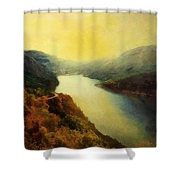 River Valley Sunrise Shower Curtain by RC deWinter