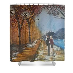 River Walk In Paris Shower Curtain by Judi Goodwin