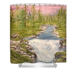 River With Falls Shower Curtain