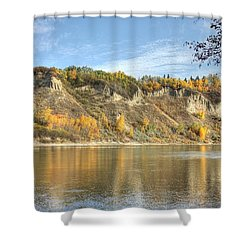 Riverbank In Autumn Shower Curtain