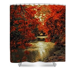 Riverbank Red Shower Curtain by Jessica Jenney