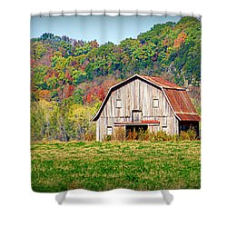 Riverbottom Barn In Fall Shower Curtain by Cricket Hackmann