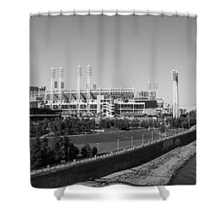 Riverfront Stadium Black And White  Shower Curtain by John McGraw