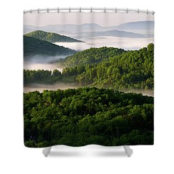 Rivers Of White Shower Curtain by Deborah Scannell