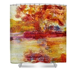 Shower Curtain featuring the painting Riverscape In Red by Carolyn Rosenberger