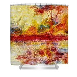 Shower Curtain featuring the painting Riverscape In Red....part 2 by Carolyn Rosenberger
