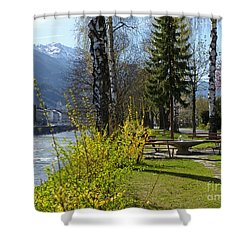 Riverside At Lienz  Shower Curtain