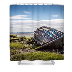 Riverside Boat. Shower Curtain