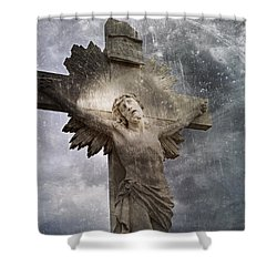 Riverside Cemetery Cross Shower Curtain
