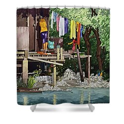 Riverside House And It's Laundry Shower Curtain