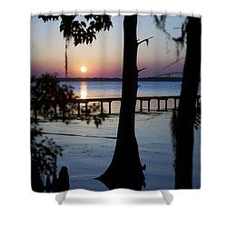 Riverside Sunset Shower Curtain