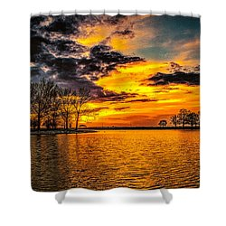 Shower Curtain featuring the photograph Riverview Beach Park Sunset by Nick Zelinsky