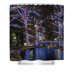 Shower Curtain featuring the photograph Riverwalk Christmas by Steven Sparks