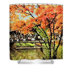 Shower Curtain featuring the painting Riverwalk Covered Bridge by Christopher Arndt