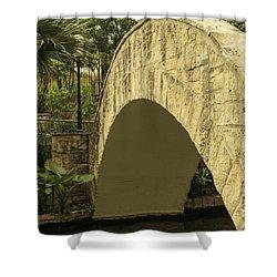 Riverwalk Footbridge Shower Curtain by Anne Witmer
