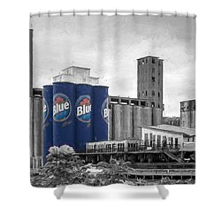 Riverworks Blue Shower Curtain