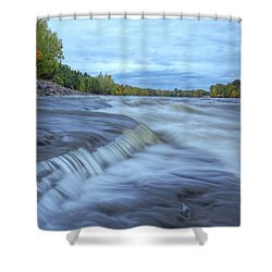 Riviere Des Prairies Panorama Shower Curtain by Mircea Costina Photography