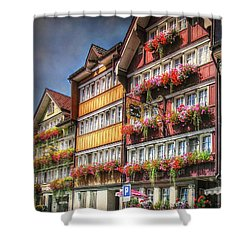 Shower Curtain featuring the photograph Row Of Swiss Houses by Hanny Heim